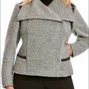 Lane Bryant Gray Boiled Wool Moto Jacket, 18/20